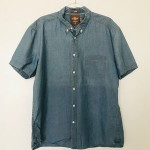 H&M Short Sleeve Chambray Button Down Fitted Shirt